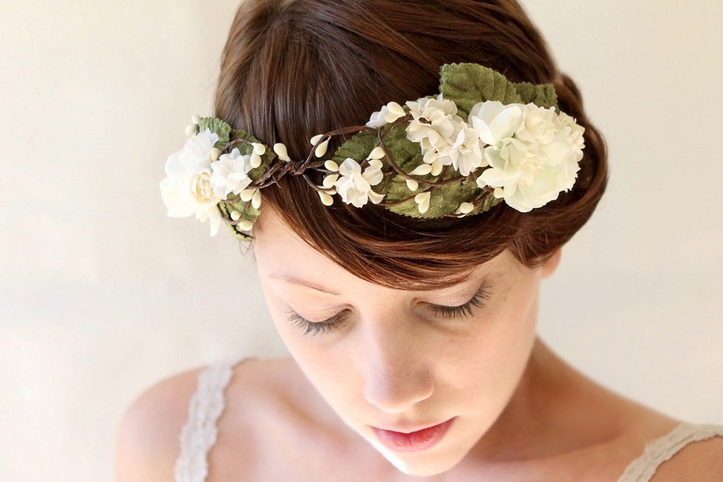 Rustic Wedding Ideas Woodland Weddings by Etsy bridal crown.