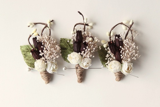 Rustic Wedding Ideas Woodland Weddings by Etsy boutonnieres