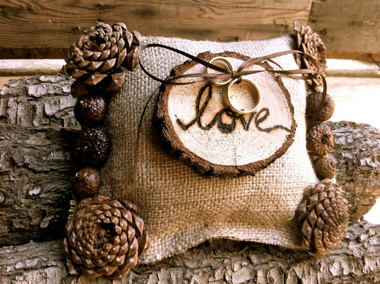 Rustic Wedding Ideas Woodland Weddings by Etsy burlap ring bearer pillow