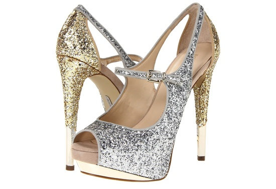Shimmery wedding shoes gold and silver sparkle