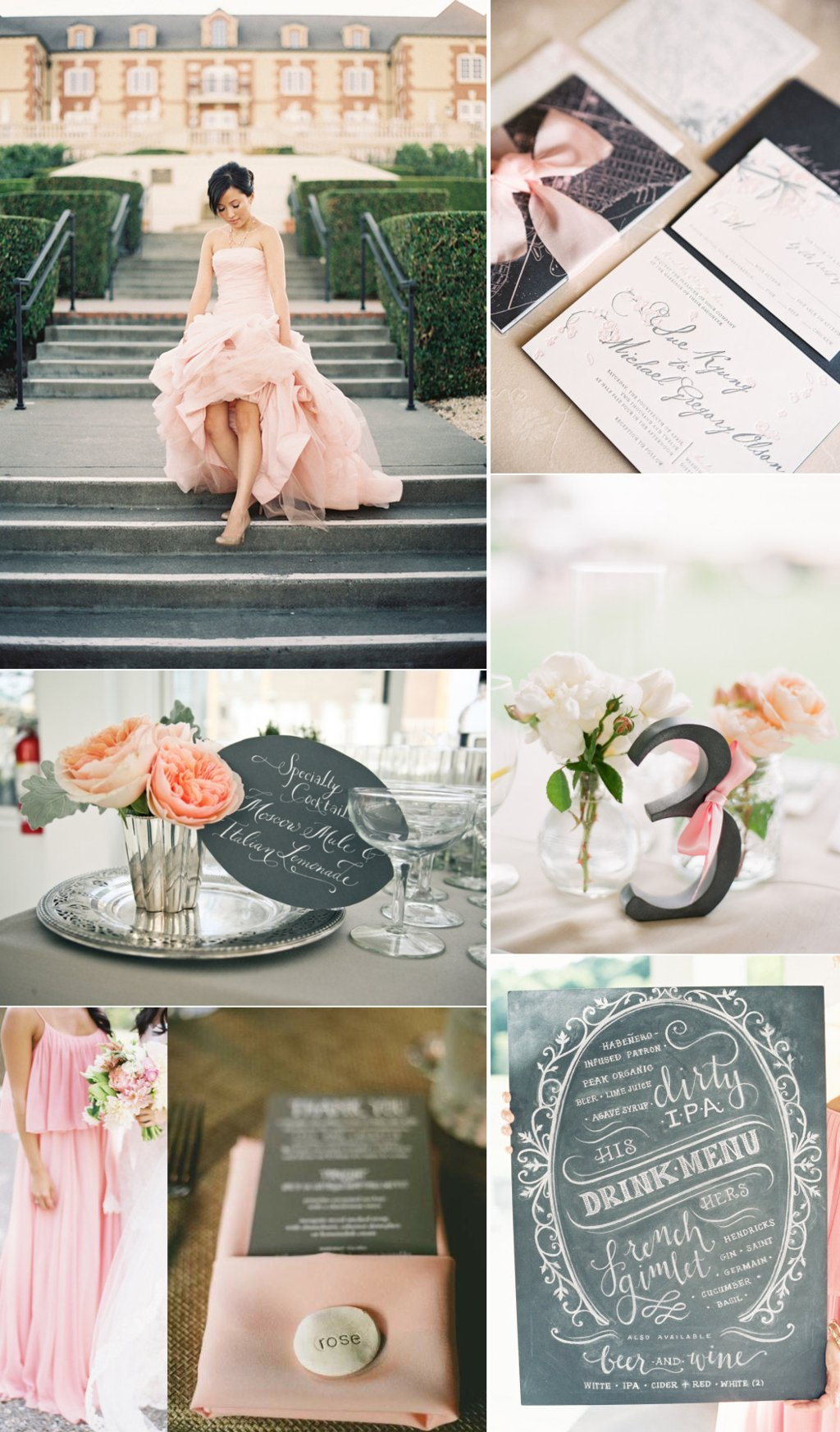 Wedding Color Inspiration Blush and Charcoal