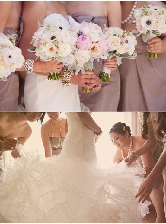Real wedding romantic wedding dress bridal bouquet full.