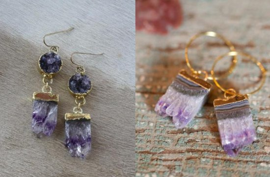 Chic Wedding Jewelry Amethyst Bridal Earrings