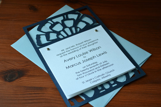 Handmade Wedding Finds Laser Cut navy aqua invitation