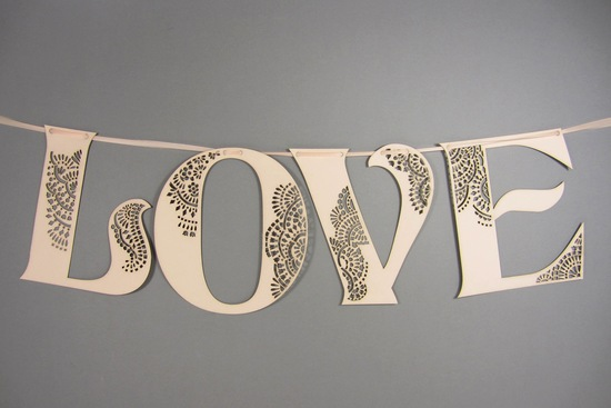 Handmade Wedding Finds Laser Cut LOVE sign
