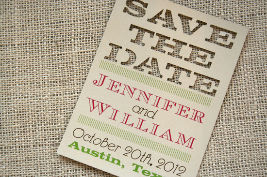 Handmade Wedding Finds Laser Cut save the date