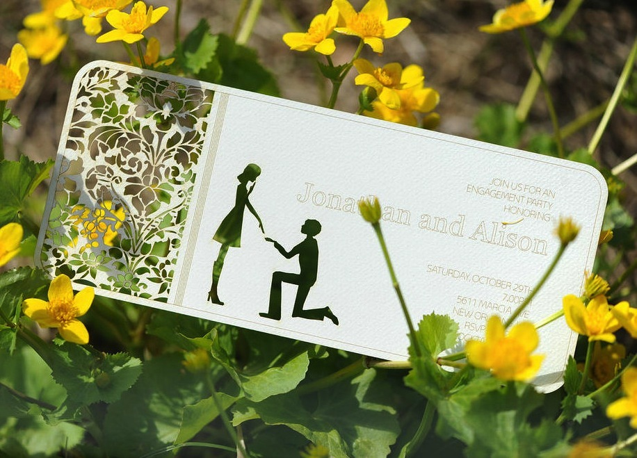 Handmade Wedding Finds Laser Cut engagement party invites