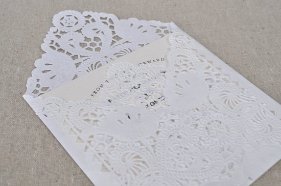 Handmade Wedding Finds Laser Cut lace envelopes