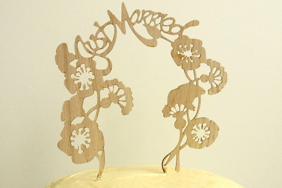 Handmade Wedding Finds Laser Cut wood cake topper