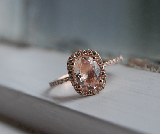 rose gold engagement ring diamond alternative