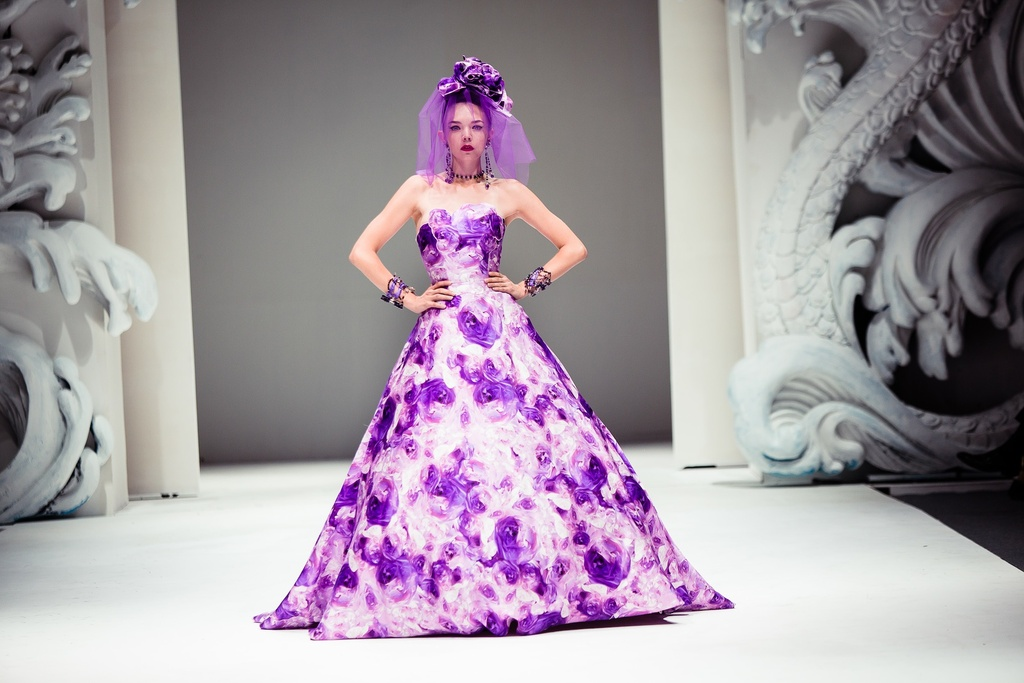 Bold Wedding Inspiration from Yumi Katsura Purple Floral Wedding Dress