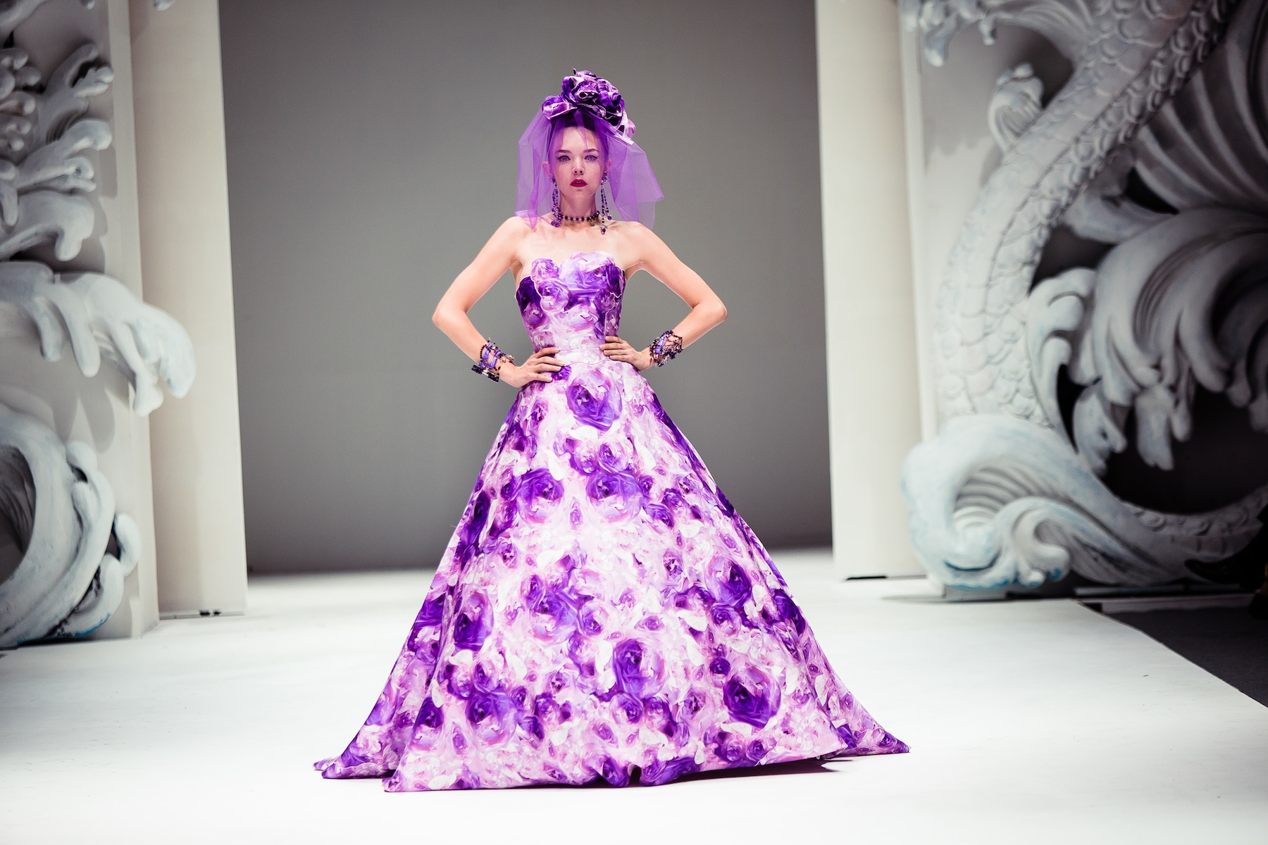 Bold wedding inspiration from yumi katsura purple floral for Floral dresses for weddings