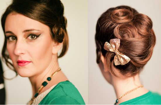 retro bridal updo finger rolls