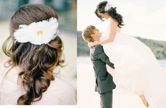 photo of Soft Pretty Wedding hairstyle half up