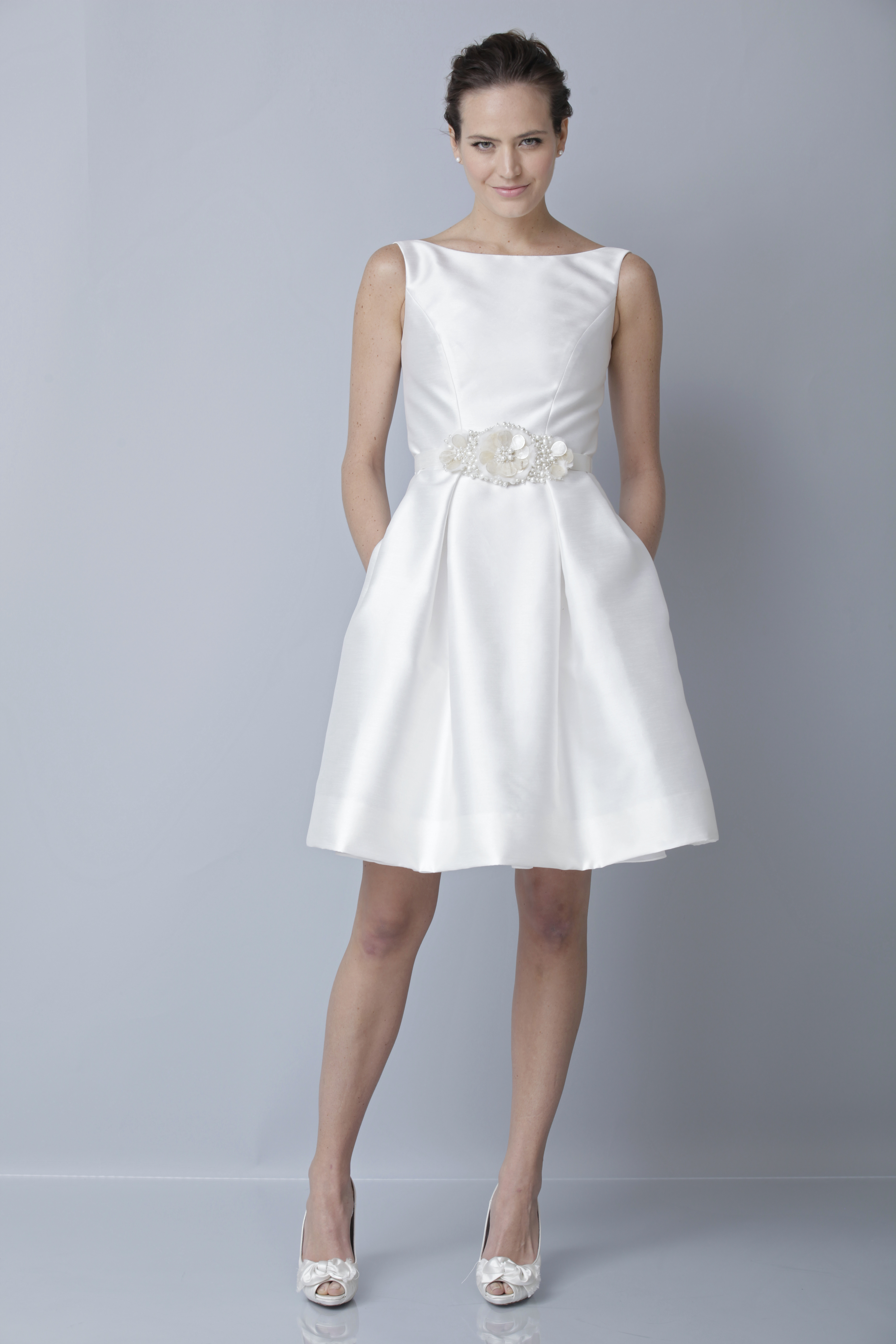 Theia white collection wedding dress spring 2013 bridal for Short spring wedding dresses