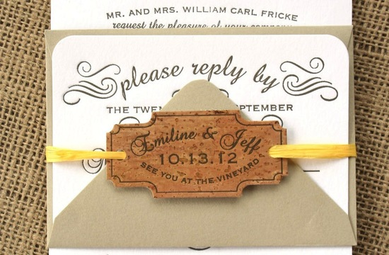 Handmade Wedding Finds for Unique Weddings Cork invitations
