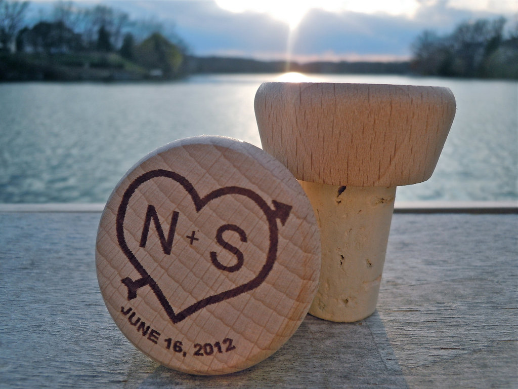 Handmade Wedding Finds for Unique Weddings Cork monogrammed favors