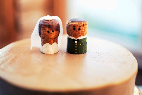 Handmade Wedding Finds for Unique Weddings Cork cute cake topper
