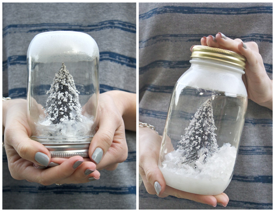 DIY Wedding Projects for Winter Brides Snow Globe Decor 1