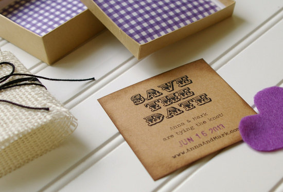 Rustic Wedding Save the Date gingham