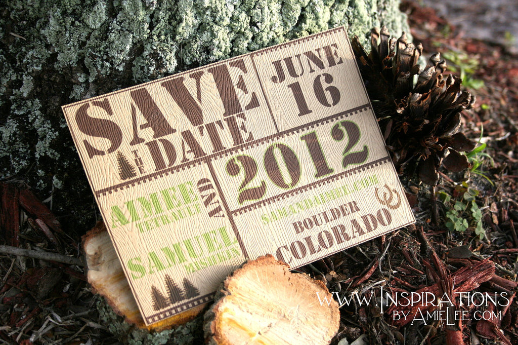 Textured Wedding Invitation Rustic Wood STD