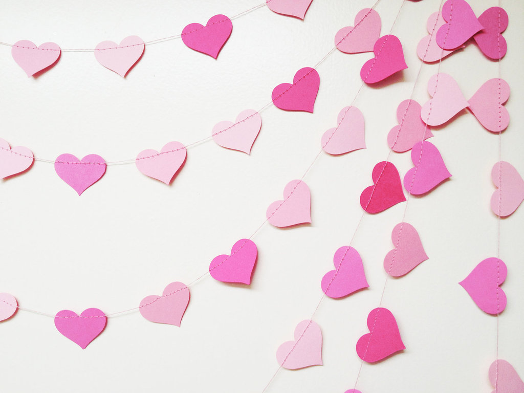 Wedding Decor Pink Hearts Garland