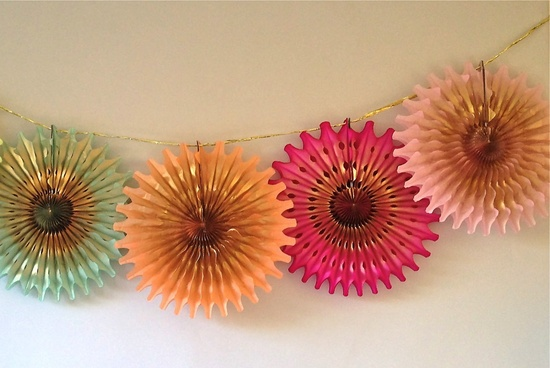 Holiday Wedding Decor Gilded Pinwheel Bunting
