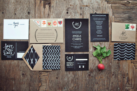 Chalkboard Wedding Invitation Suite rustic weddings
