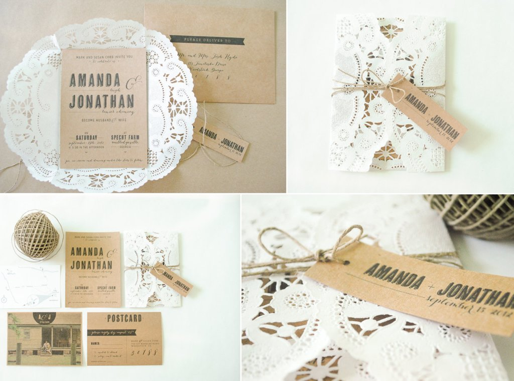 Romance Wedding Invitations Doily Kraft Paper