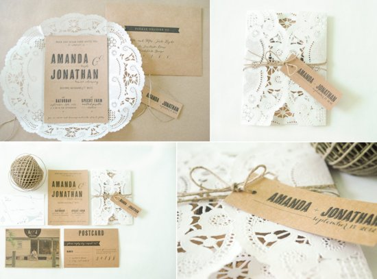 Rustic Romance Wedding Invitations Doily Kraft Paper