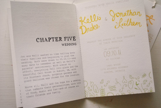 Vintage Book Wedding Invitation 1