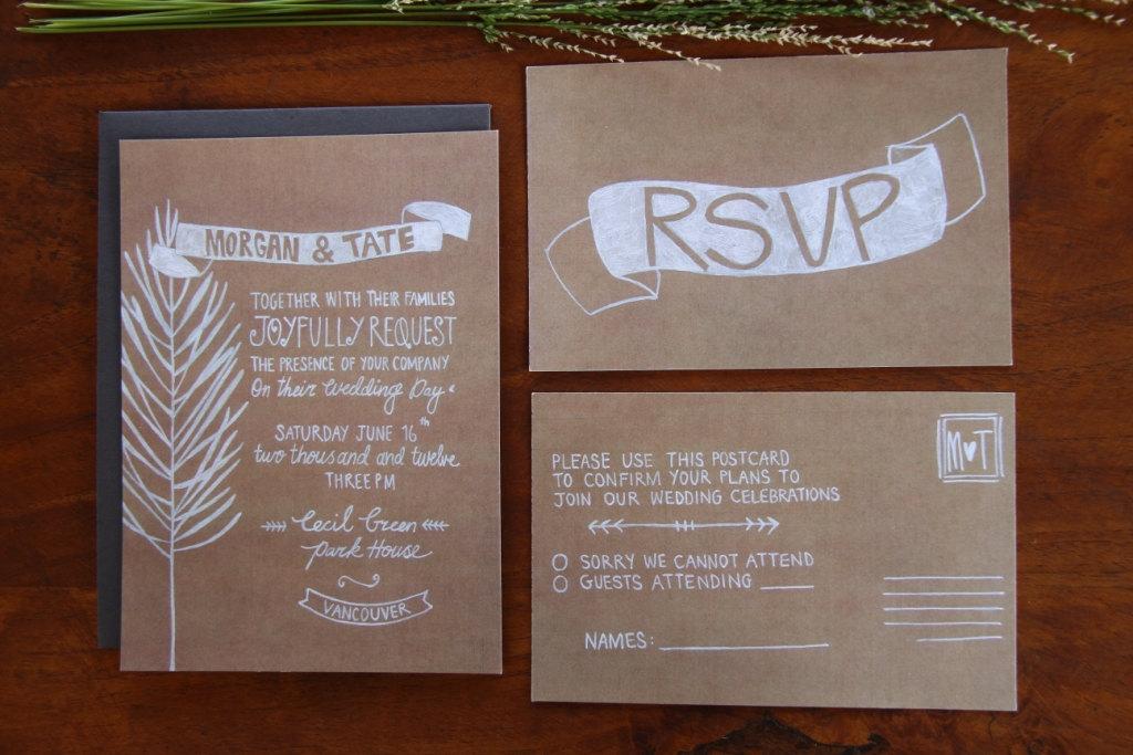 Diy Kraft Paper Wedding Invitations: Illustrated Wedding Invitation Rustic Kraft Paper