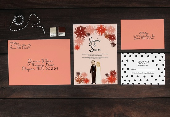 Custom Wedding Invitation Suite Coral Black Illustrated