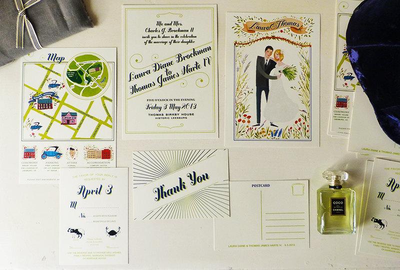 Mad Men Wedding Invitations Hand Drawn
