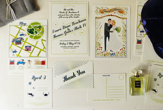 Mad Men Wedding Invitations Hand Drawn