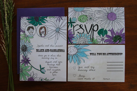 Retro Floral Wedding Invitations Purple Green White