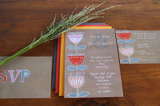 Kraft Paper Wedding Invitations Folksy Floral