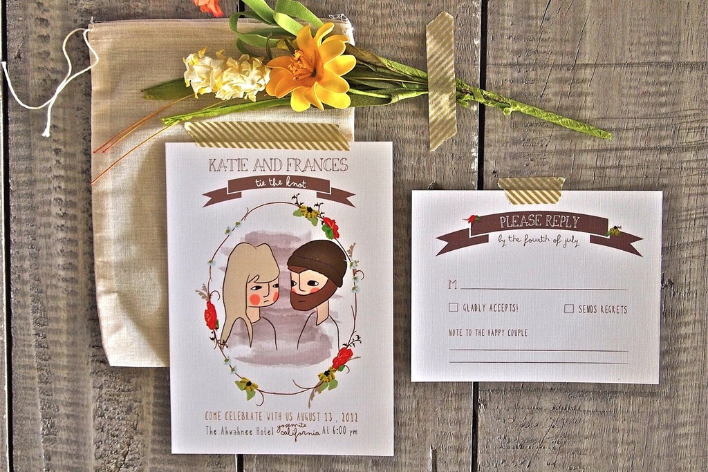 Rustic Illustrated Wedding Invitation Custom Portraits