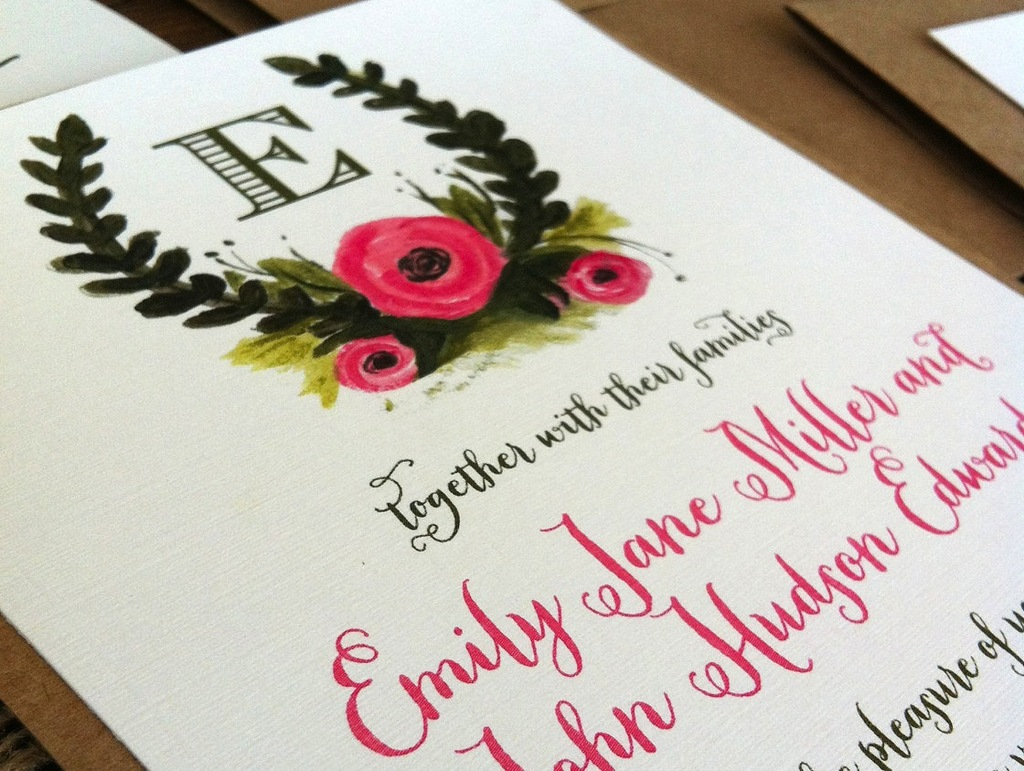 Rustic Illustrated Wedding Invitations Pink Olive Ecru