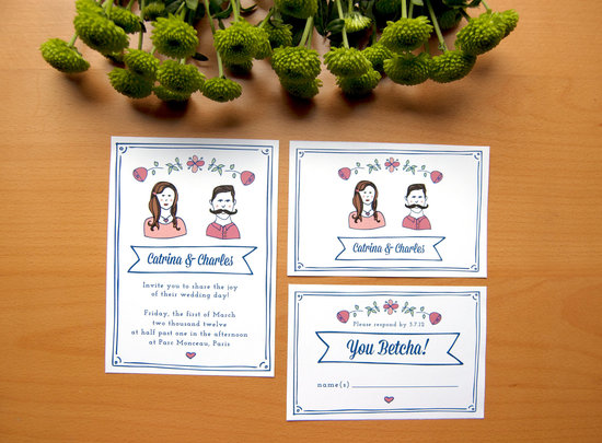 Cute Custom Wedding Invitation Illustrated Portraits