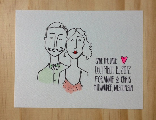 Simple Wedding Save the Date Custom Portrait