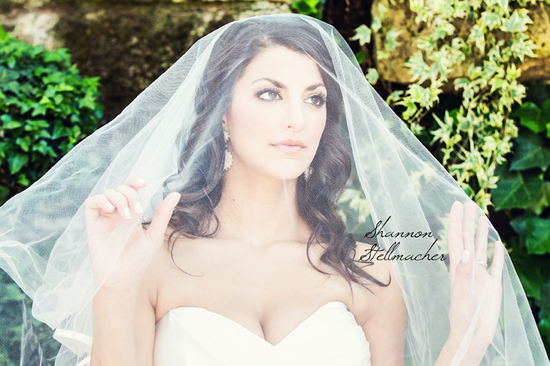 Classic Bride wears traditional veil
