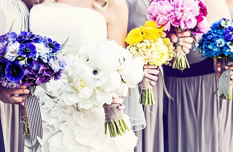 Modern Rustic Wedding Flowers Bride and Bridesmaids Bouquets