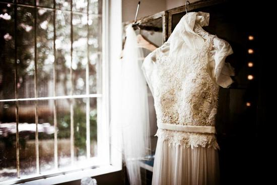 photo of Wedding Dress Detail Shot Beaded Bodice