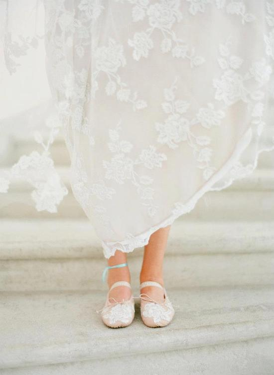 photo of Romantic Wedding Dress Pretty Ballet Flats