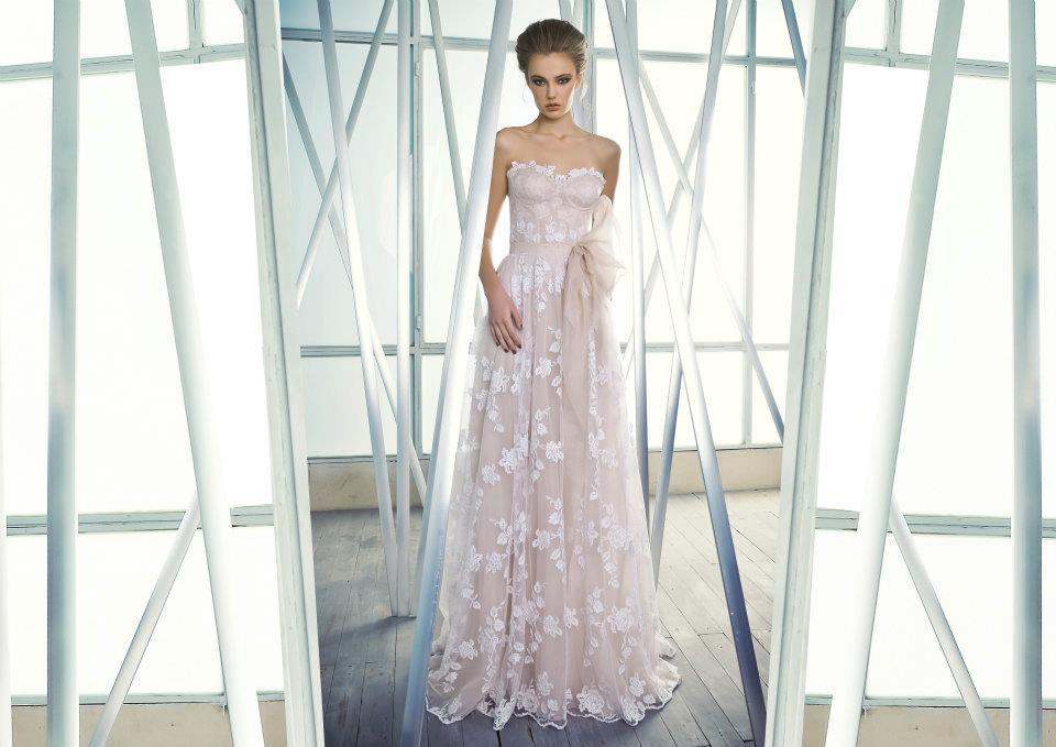 Romantic Wedding Dress Sheer Lace over Nude