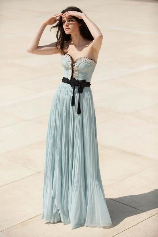photo of Stunning Pastel Aqua Bridesmaid Dress