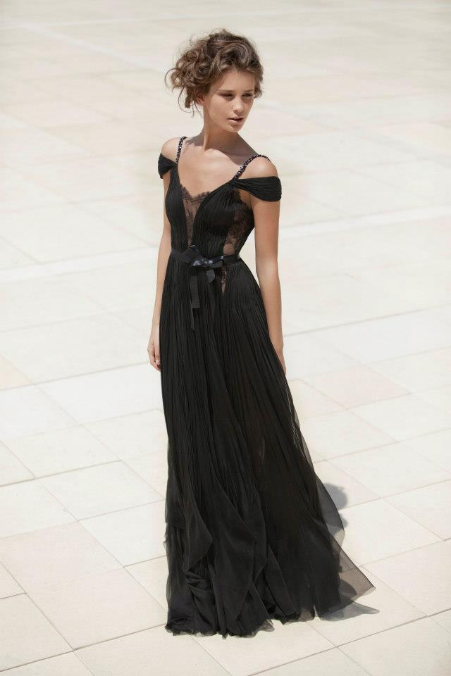 Daring black bridesmaid dress with peekaboo lace for Black lace wedding dresses