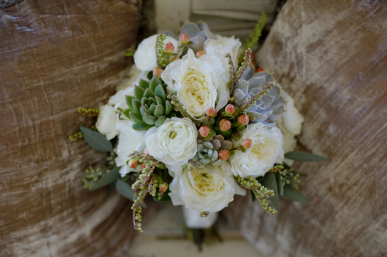 Beautiful Bridal Bouquet of Ivory Roses and Green Succulents