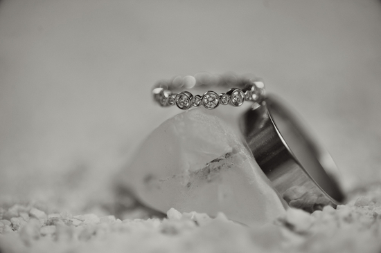 Romantic Engagement Ring and Wedding Bands Photo